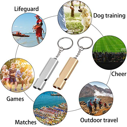 Norme  3 Norme 6 Pieces Outdoor Double Tubes Emergency Survival Whistle with Buckles and Black Lanyard for Hiking Camping Boating Hunting Fishing Sports Dog Training (Gold and Silver)