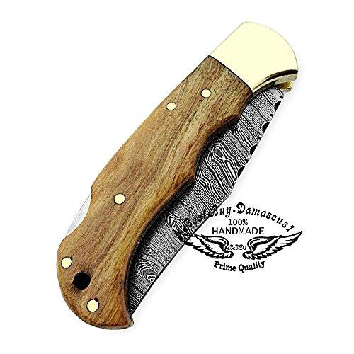 Best.Buy.Damascus1  5 Pocket Knife Olive Wood 6.5'' Damascus Steel Knife Brass Bloster Back Lock Folding Knife + Sharpening Rod Pocket Knives 100% Prime Quality+ Buffalo Horn Small Pocket Knife + Damascus Knife