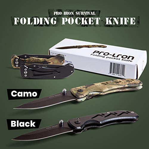 Pro Iron  5 Pro Iron Camo Survival Folding Pocket Knife Black Coated Stainless Steel (3r13) Tactical Knife with Belt Clip Liner Lock for Camping Hunting Fishing and All Other Outdoor Activities