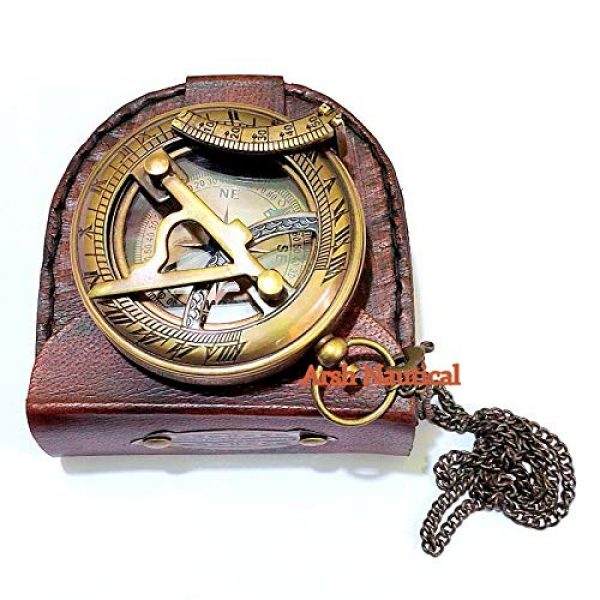 Arsh Nautical Survival Compass 4 Arsh Nautical Gifts for Husband/Nautical Collectibles Brass Sundial Compass with Handmade Leather Case