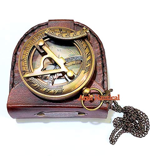 Arsh Nautical  4 Arsh Nautical Gifts for Husband/Nautical Collectibles Brass Sundial Compass with Handmade Leather Case