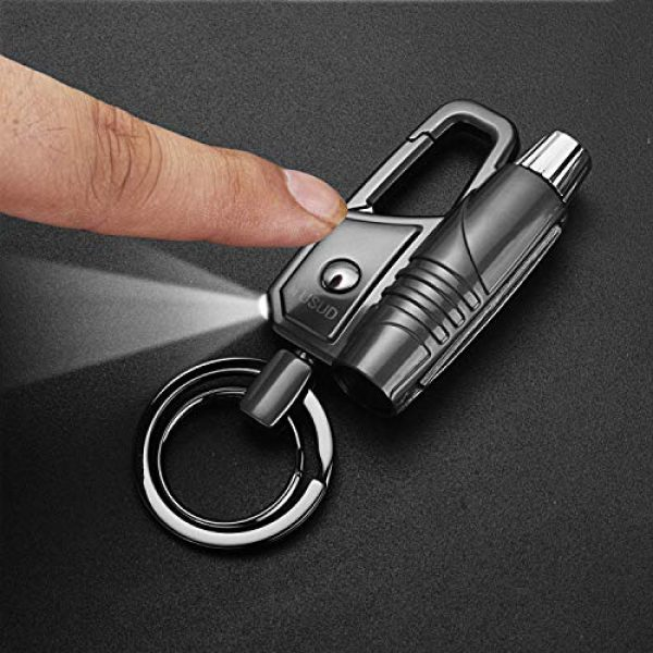 yusud Survival Keychain 3 Multitool Keychain LED Flashlight with Permanent Match Lighter, Forever Flint Firestarter Survival Gear for Camping Hiking Outdoor Adventure