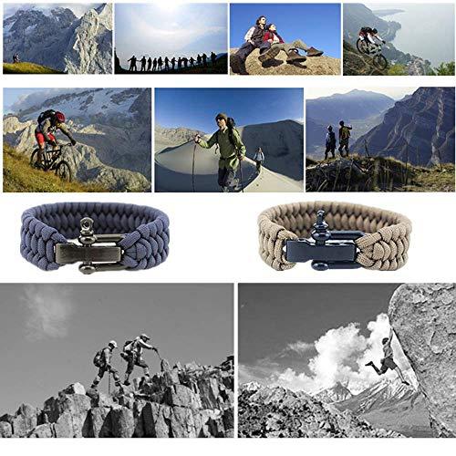 Hewnda  6 Hewnda 4Pack Paracord Survival Bracelet with Stainless Steel Black U Shackle