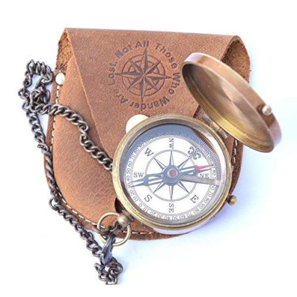 NEOVIVID Survival Compass 3 NEOVIVID Thoreau's Go Confidently Quote Engraved Compass with Stamped Leather case, Graduation Day Gifts