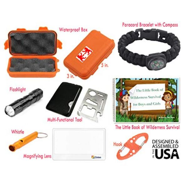 EZ Survival Kit 2 EZ Outdoor Adventure Kit for Boys and Girls The Little Book of Wilderness Survival, Waterproof Box, Multi-Functional Tool, Magnifying Lens, Paracord Bracelet with Compass, Whistle, Flashlight, Hook