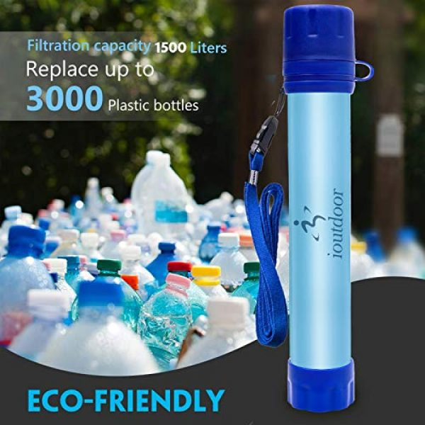 ioutdoor Survival Water Filter 5 ioutdoor 2 Pack Water Filter Straw with Free Emergency Blankets,Portable Lightweight Personal Water Purifier Survival Filtration Gear for Hiking Camping Fishing Hunting Backpacking Travel