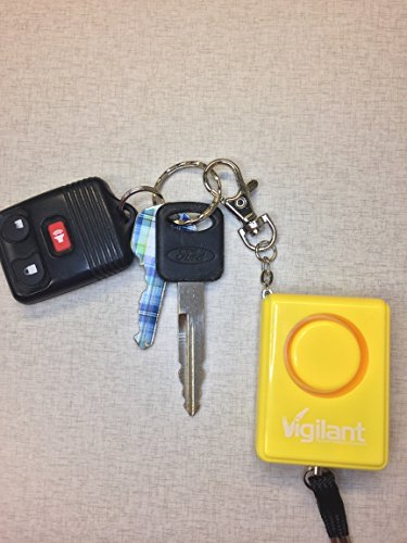 Vigilant Personal Protection Systems  6 135dB Personal Alarm for Panic/Rape/Emergency Self Defense by Vigilant with Backpack/Keychain Key Ring Chain Clip and Help Cord Rip Cord Emergency Activation (PPS-42)