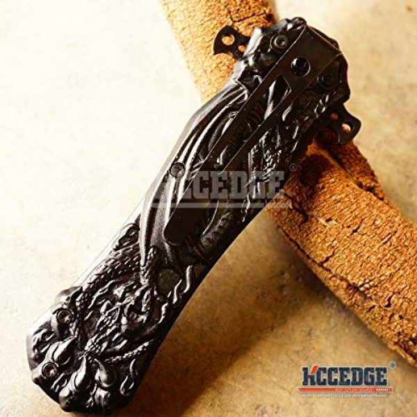 KCCEDGE BEST CUTLERY SOURCE Folding Survival Knife 6 KCCEDGE BEST CUTLERY SOURCE Pocket Knife Camping Accessories Survival Kit Razor Sharp Dragon Skull EDC Survival Folding Knife Camping Gear 55624