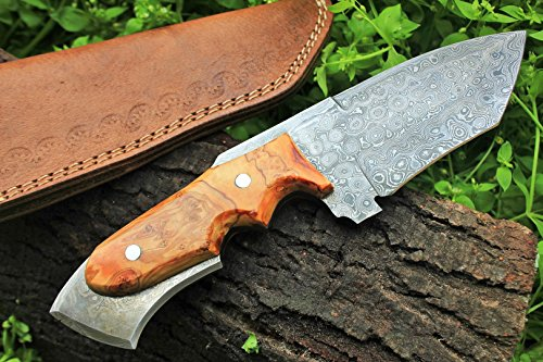 """DKC Knives  6 DKC Knives (17 5/18) Sale DKC-85 Tomcat Damascus Skinner Hunting Knife 9"""" Long 4.5"""" Blade 11.2oz High Class Looks Incredible Feels Great in Your Hand and Pocket Hand Made"""