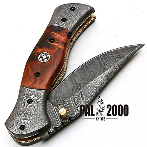 PAL 2000 KNIVES  4 Custom Handmade Damascus Steel Hunting Folding Pocket Knife -Sword/Chef Kitchen Knife/Dagger/Full Tang/Skinner/Axe/Billet/Cleaver/Bar/Bowie/Kukri/knives accessories/survival/Camping With Sheath 8844