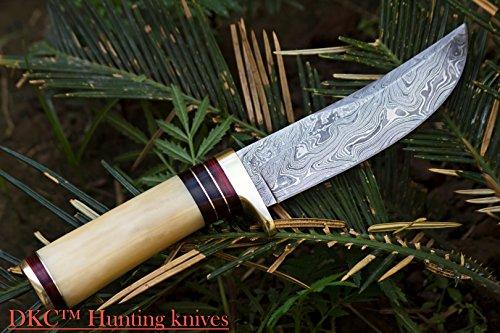 "DKC Knives  6 DKC Knives (14 5/18) SALE DKC-30 ALASKA Damascus Steel Hunting Bowie Knife 10.5"" Long 5"" Blade 8oz"