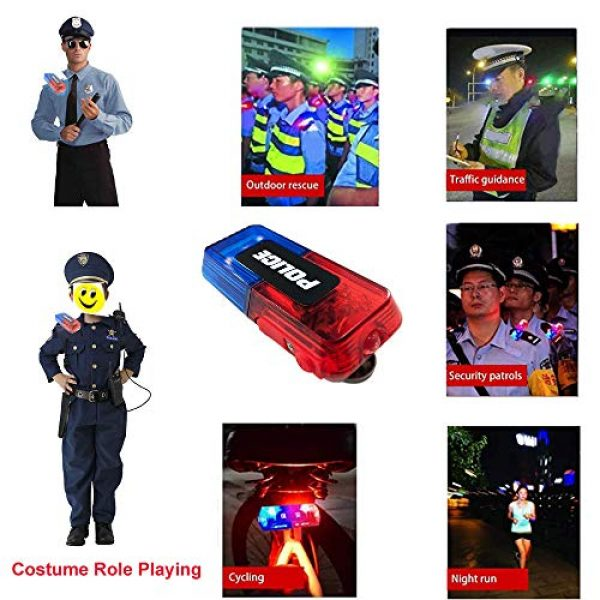 AooYu Survival Flashlight 6 Police LED flashing warning shoulder light safety clip lamp with flashlight lighting function for Outdoor rescue,traffic guidance,Security patrols,cycling,Night run and more application scenarios