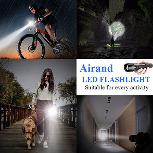 Airand Survival Flashlight 5 Airand LED Tactical Flashlight 3000 Lumen Rechargeable LED Flashlight Torch Flashlight 18650 Battery Charger, Zoomable, 5 Modes, Waterproof Handheld Light Spotlight For Outdoor, Camping, Hiking