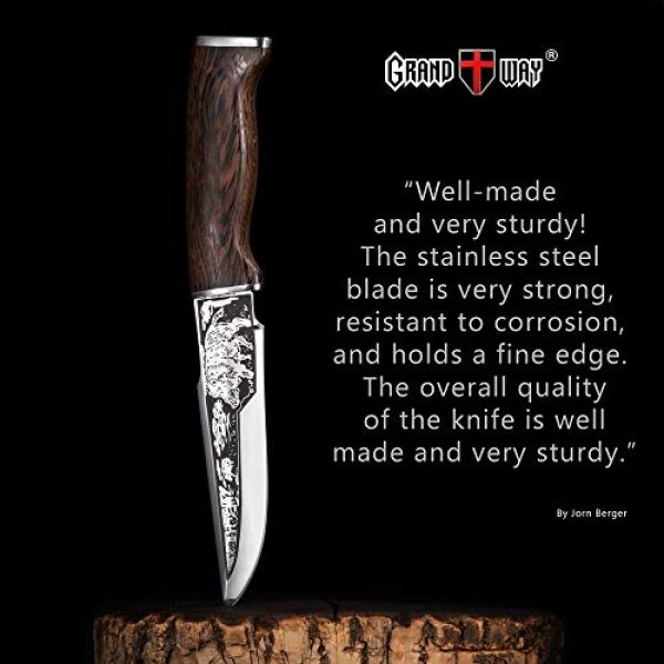 Grand Way Fixed Blade Survival Knife 3 Hunting Knife - Survival Knives with Sheath - Engraved Fixed Blade Knife - Hunter Bushcraft Bowie Knofe - Classic Long Blade Knifes with Wood Handle for Men - Best for Hunting Camping Defense 2428