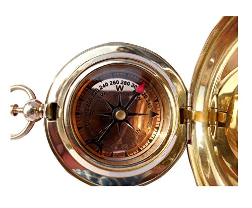 THORINSTRUMENTS Survival Compass 4 Handmade Brass Push Open Compass with Rose Wood Case, Pocket Compass for Hiking