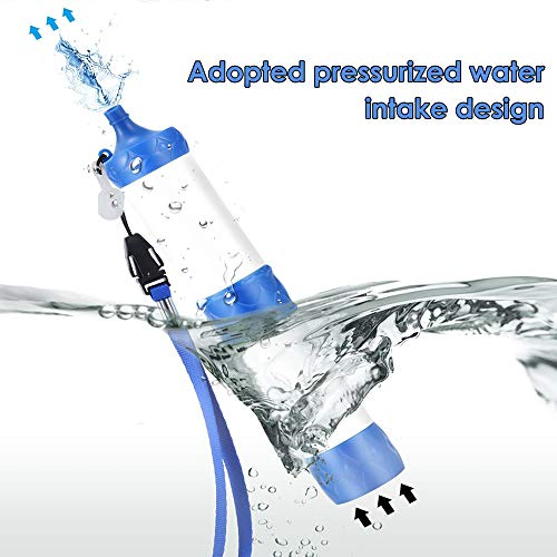 Lixada  6 Lixada Straw Water Filter Portable Emergency Survival Water Purifier Filtration System Bottom Thread Design for Hiking Camping Travel Backpacking Outing Water Supply Preparedness