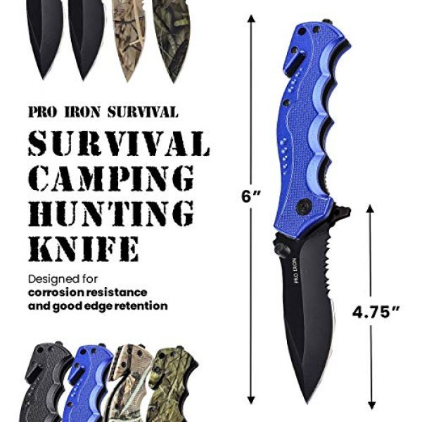 Pro Iron Folding Survival Knife 3 Pro Iron Assisted Opening Serrated Edge Outdoor Survival Camping Hunting Knife Stainless Steel Protective Black Oxide Coating Built-in Seat Belt Cutter and Carry Pocket Clip
