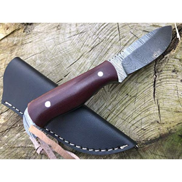 Perkin Fixed Blade Survival Knife 5 Perkin Damascus Steel Hunting Knife with Sheath Skinning & Bushcraft Knife - SK400