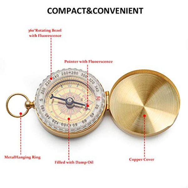 Qi Mei Survival Compass 4 Qi Mei Camping Survival Compass Metal Pocket Compass Kids Compass for Hiking Camping Hunting Outdoor Military Navigation Tool