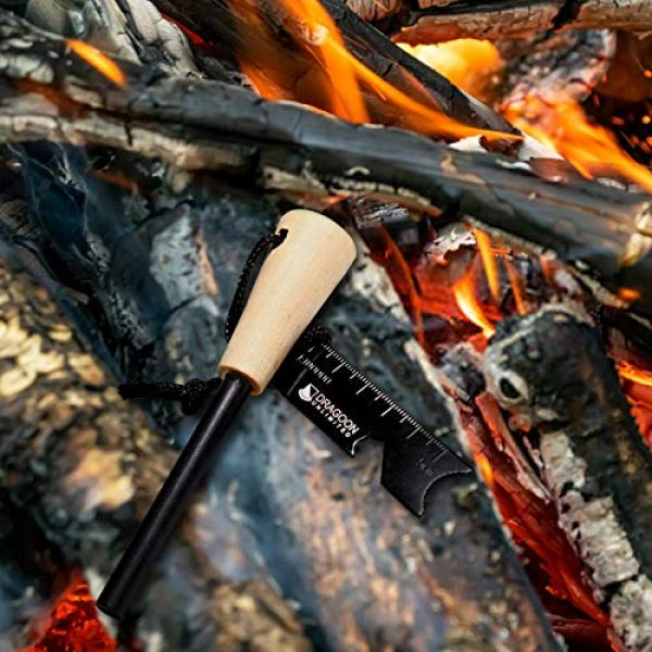 Dragoon Unlimited Survival Fire Starter 5 Dragoon Unlimited Fire Starter Kit - Traditional Bushcraft Ferro Rod - Emergency Survival Tool - Handmade Wooden Handle - Perfect for Camping, Hiking, Adventure Trips - 12,000-20,000 Strikes