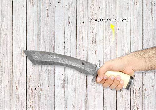 Custom Handmade 14 inch Damascus Steel Hunting Knife - Tantoo Blade Bowie Knife - Camel Bone Handle - Leather Sheath