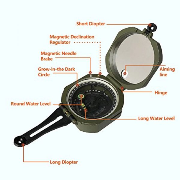 AOFAR Survival Compass 2 AOFAR AF-M2-B Military Compass Lensatic Sighting-Multifunctional, Fluorescent, Waterproof and Shakeproof with Inclinometer and Carrying Bag for Camping, Hiking, Hunting