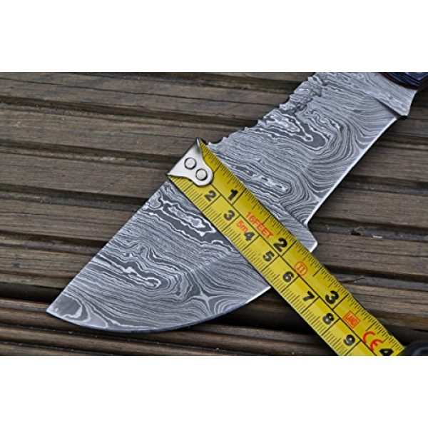 Perkin Fixed Blade Survival Knife 7 Perkin Knives - Hunting Knives with Leather Sheath Damascus Blade