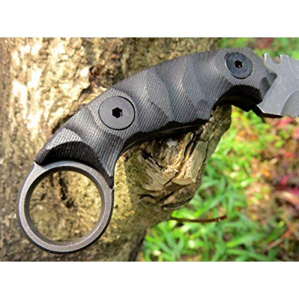 Canku Fixed Blade Survival Knife 5 Canku C1691 Fixed Blade Knife D2 Steel G10 Handle 4 Inches,Outdoor Survival Claw Tactical Teeth Knife,Camping EDC Tools, Kydex Sheaths