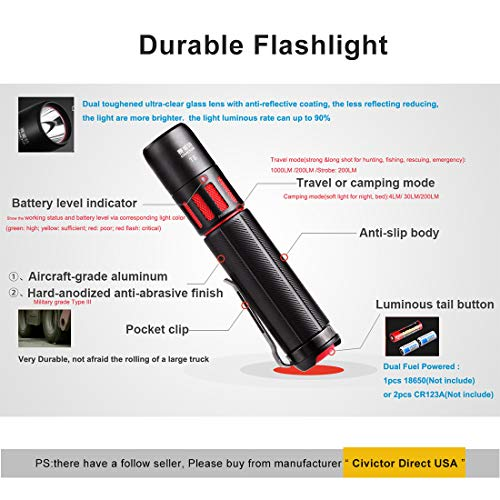 CIVICTOR  3 Small Tactical Flashlight 1000 lumens High Power Super Bright Cree Led Flash light 18650 Rechargeable Battery Mini Police Pocket Flashlight Waterproof EDC Gear Camping Military Army Tac Torch Lantern