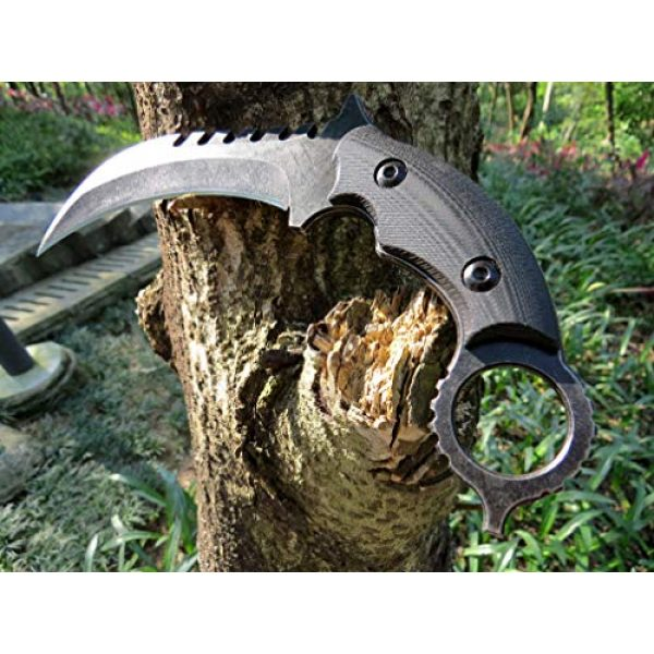 Canku Fixed Blade Survival Knife 3 Canku C1696 Fixed Blade Knife D2 Steel G10 Handle 4.3 Inches, Outdoor Survival Claw Tactical Teeth Knife Double Edged Sharp, Camping EDC Tools, Kydex Sheaths