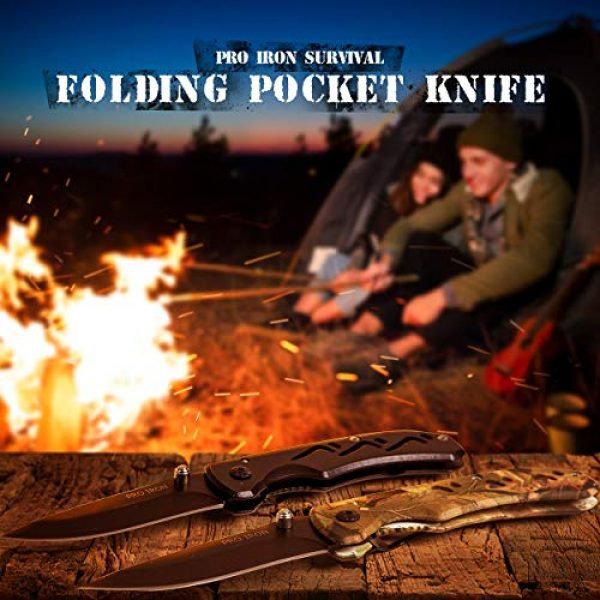 Pro Iron Folding Survival Knife 4 Pro Iron Camo Survival Folding Pocket Knife Black Coated Stainless Steel (3r13) Tactical Knife with Belt Clip Liner Lock for Camping Hunting Fishing and All Other Outdoor Activities