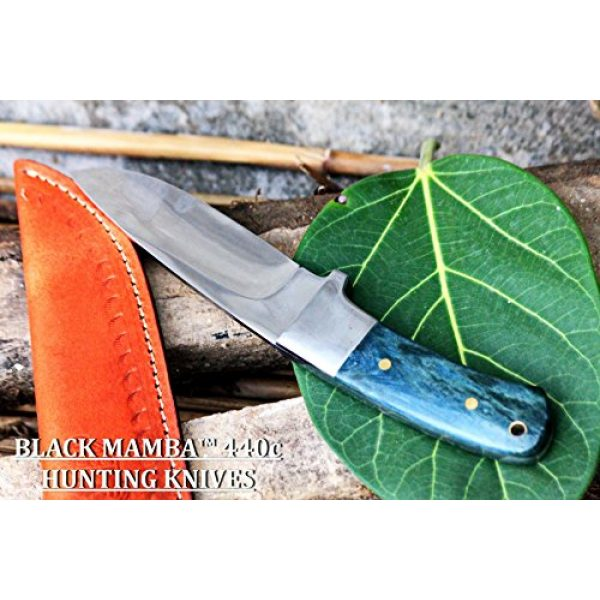 BLACK MAMBA KNIVES Fixed Blade Survival Knife 4 BLACK MAMBA KNIVES BMK-144 Green Fish 4.5 Inches Blade 440c Stainless Steel Hunting Knife Mirror Polished