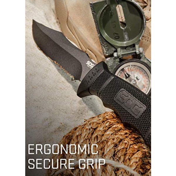 SOG Fixed Blade Survival Knife 5 SOG Fixed Blade Knives with Sheath - SEAL Pup Tactical Knife, Survival Knife and Hunting Knife w/ 4.75 Inch Blade and Knife Sheath