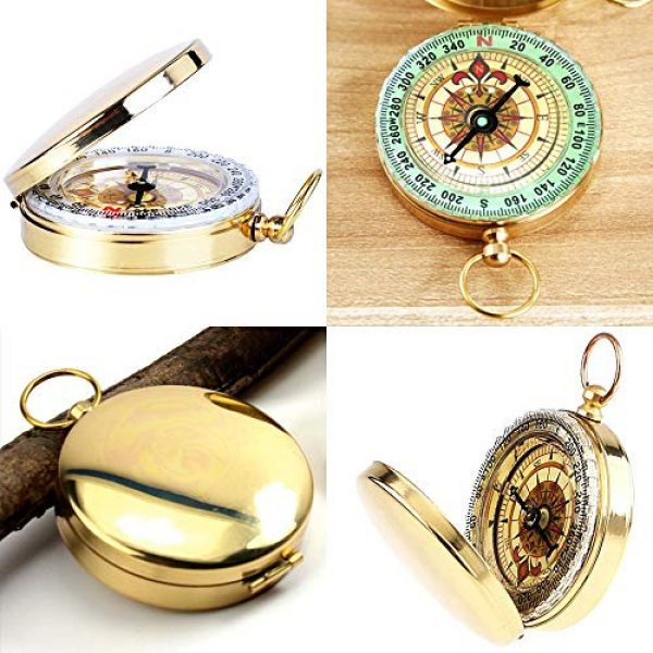Laupha Survival Compass 2 Laupha Survival Gear Compass Pocket Military Antique Compass for Kids Accurate Waterproof for Hiking Outdoor Camping Motoring Boating Backpacking Compass Tool