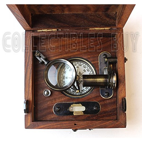 collectiblesBuy Survival Compass 5 Six Instrument Marine Master Box - Compass Telescope Scale Chart Spirit Level Alidade