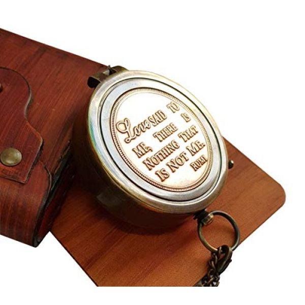 Brass Nautical Survival Compass 4 Brass Nautical - Beautiful Compass with Leather Carry Pouch and Gift Box Birthday, Anniversary, Valentine, Love, Romantic Personalized Message for Boyfriend, Husband, Girlfriend, Wife & Any Loved Ones