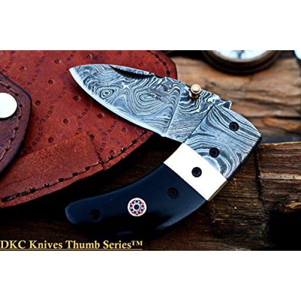 """DKC Knives Folding Survival Knife 3 (8 6/18) Sale DKC-43 Black Thumb Damascus Steel Folding Pocket Knife 3.5"""" Folded 6.25"""" Open 7.5oz 2.25"""" Blade Black Buffalo Horn Damascus Bolster"""