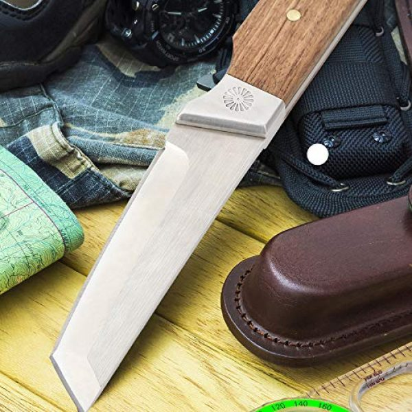 LIANTRAL Fixed Blade Survival Knife 5 LIANTRAL Tanto Knife Fixed Blade, D2 Blade Full Tang Tactical Survival Camping Cleaver Knife with Nylon Sheath