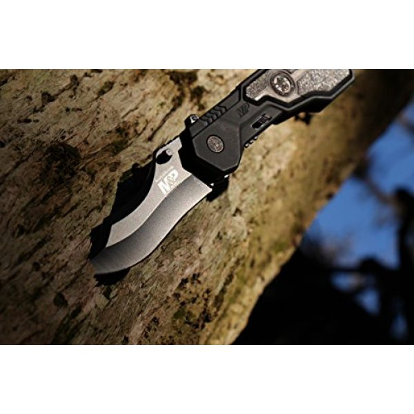 Smith & Wesson Folding Survival Knife 4 Smith & Wesson M&P SWMP1B 7.1in High Carbon S.S. Assisted Folding Knife with 2.9in Clip Point Blade and Aluminum Handle for Tactical, Survival and EDC