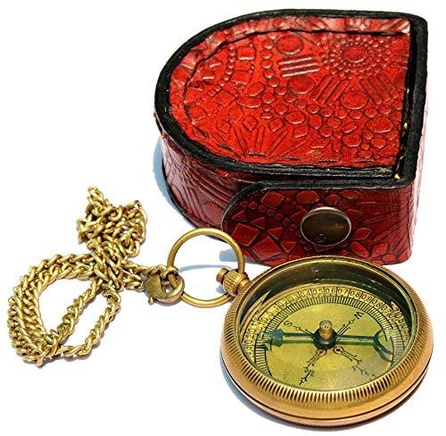 Sara Nautical Survival Compass 6 Sara Nautical Go Confidently Thoreau's Quote Engraved Compass with Leather Case.