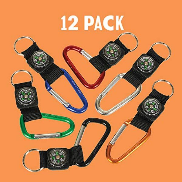 Kicko Survival Compass 6 Kicko Rock Clip Keychain with Compass Design - 12 Pack Metal Self Lock Clip - Clasps for Bag and Belt Loop Accessory, Outdoor Activities, Traveling Guide, Sporting Tool, Party Favors