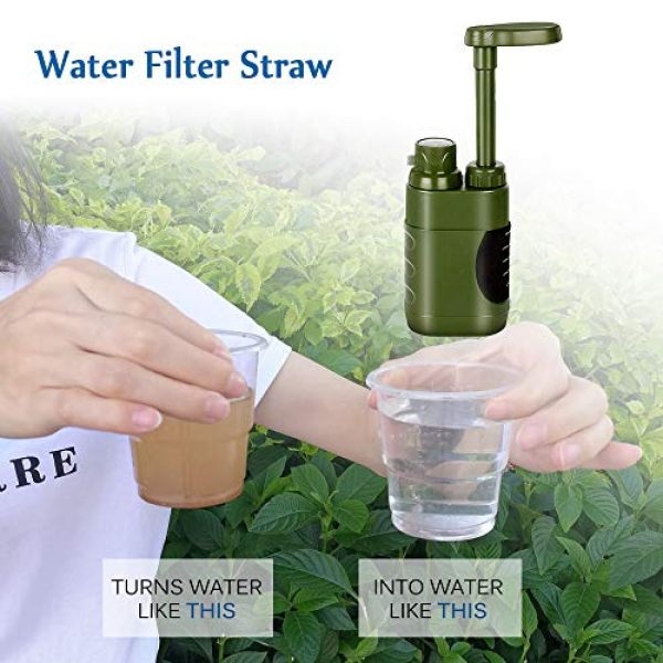Lixada Survival Water Filter 2 Lixada Straw Water Filter Survival Filtration Portable Emergency Water Purifier for Family Hiking Camping Travel Outing Water Supply Preparedness