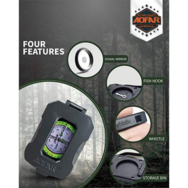 AOFAR Survival Compass 3 AOFAR AF-4090 Multifunctional Military Compass Waterproof and Shakeproof with Signal Mirror,Whistle,Fishing Hook and Line for Camping,Boy Scount,Geology Activities Boating