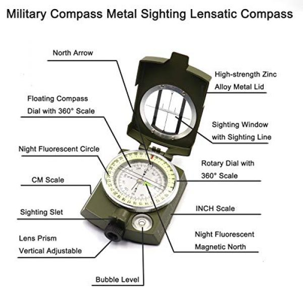 DETUCK Survival Compass 2 DETUCK(TM Military Compass Metal Sighting Lensatic Compass, Night Fluorescent, Impact Resistant and Waterproof, Survival Navigation Compass for Hiking, Camping, Hunting, Backpacking