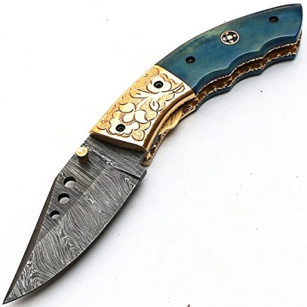 PAL 2000 KNIVES Folding Survival Knife 3 8840 Custom Handmade Damascus Steel - Folding Knife - Amazing File Work - with Sheath