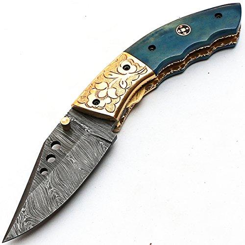 PAL 2000 KNIVES  3 8840 Custom Handmade Damascus Steel - Folding Knife - Amazing File Work - with Sheath