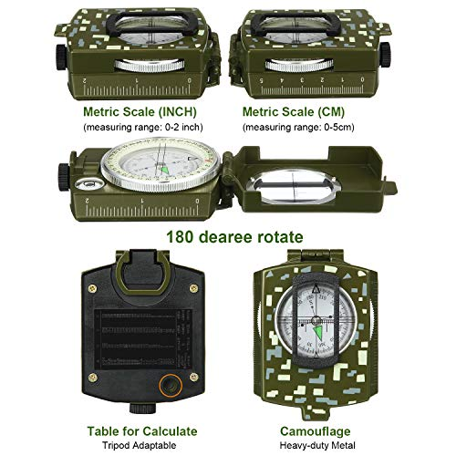 BBTO  2 2 Pieces Military Lensatic Sighting Compass Metal Sighting Navigation Compasses Impact Resistant Waterproof Lightweight Inclinometer Compasses with Carrying Bag for Hiking Camping Motoring Hunting