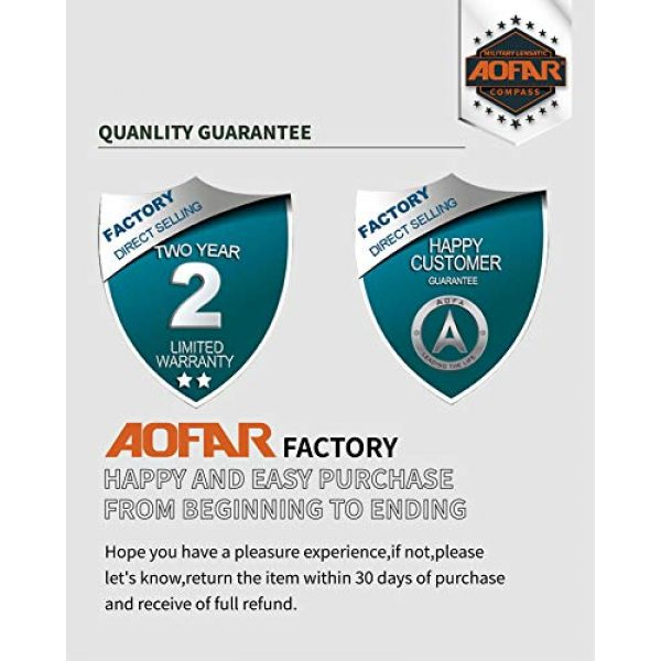 AOFAR Survival Compass 5 AOFAR AF-4580 Military Black Compass Lensatic Sighting Navigation, Waterproof and Shakeproof with Map Measurer Distance Calculator, Pouch for Camping, Hiking, Hunting, Backpacking