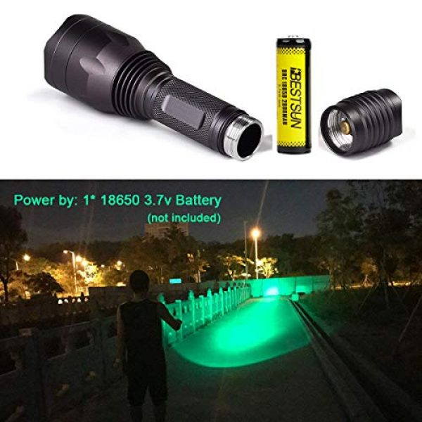 BESTSUN Survival Flashlight 6 BESTSUN 350 Yards Green Light LED Flashlight Predator Light Coyote Varmints Night Hunting Tactical Flashlights Set with Pressure Switch, Rail Mounts, Spare Rechargeable Battery, Charger