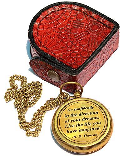 Sara Nautical Survival Compass 5 Sara Nautical Go Confidently Thoreau's Quote Engraved Compass with Leather Case.